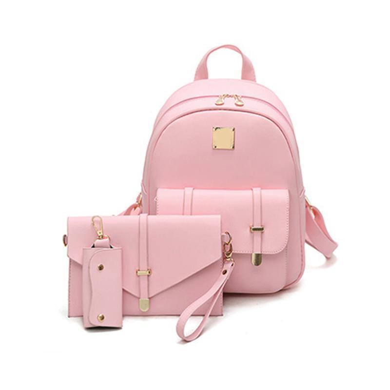 Pu Leather Backpack Para Meninas Adolescentes Novos sacos de moda Composite Bag Mulheres bonitos 3 Define saco de escola Mochilas Preto Bolsas Carta Sac A Dos