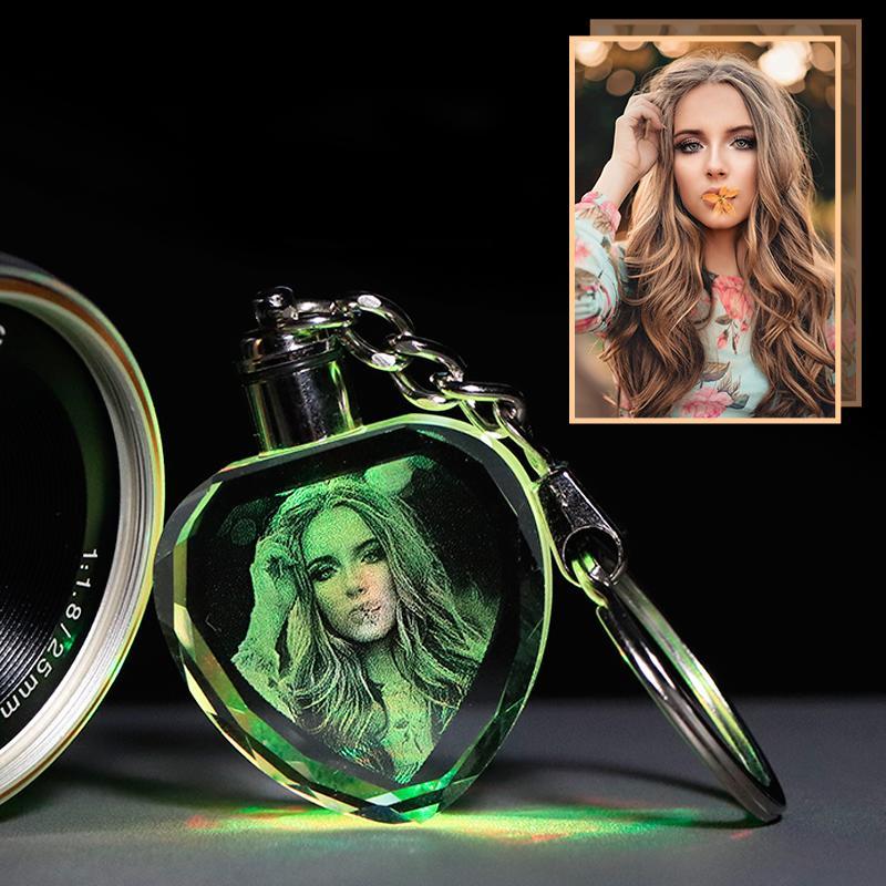تخصيص صورة مخصصة كريستال ألبوم الصور مع تغيير لون LED الإضاءة مثمن الليزر منقوش الزفاف البوم للهدايا