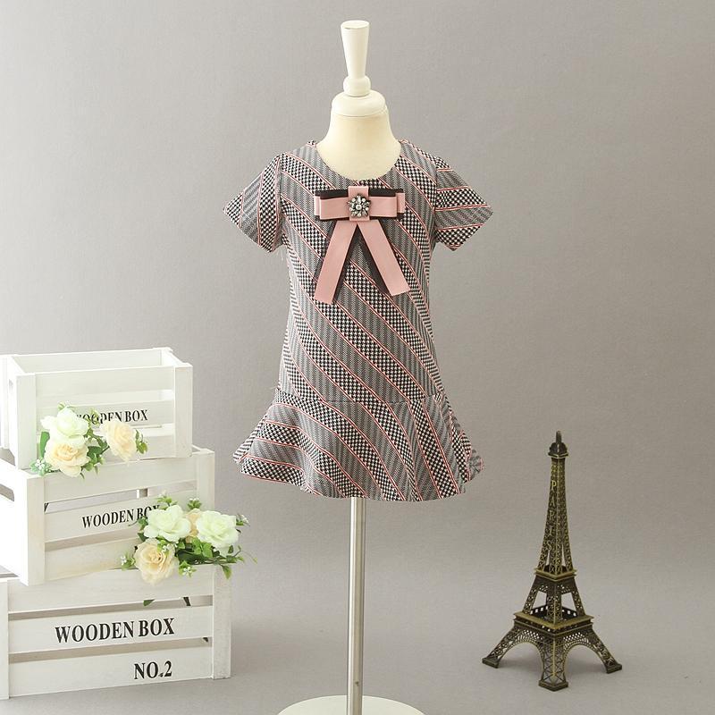 Bowtie Girl's Dresses Baby Girl Dress Kids Short Sleeve Dresses 2020 Designer Infant Princess Party Dress Children Boutique Clothing S753