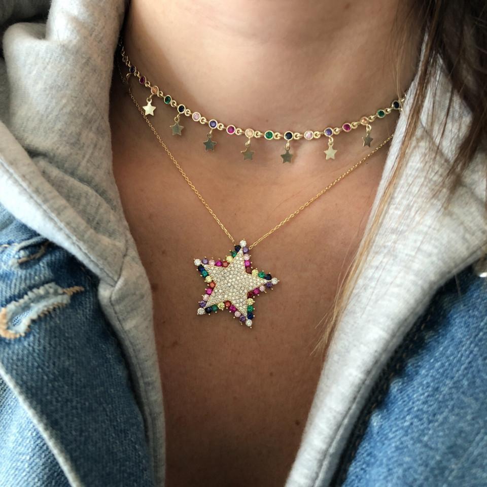 искрение шику красочную радугу ожерелье кулон звезда CZ для женщин великолепна 2019 Рождественский подарок ювелирные изделия V191213