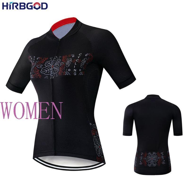 HIRBGOD 2020 جديد إمرأة كم قصير ركوب الدراجات جيرسي القميص مضحك ورقة طباعة دراجات الملابس الأعلى للتنفس الدراجة ملابس، TYZ037-01