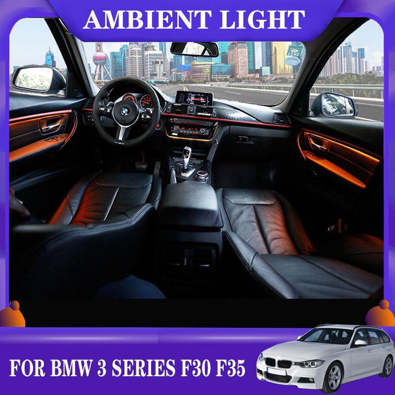 9/2 Renkler LED Ortam Işık Araba Neon İç Kapı AC Panel Dekoratif Işık Atmosfer Işık BMW 3 Serisi için F30 F35 2013-2020