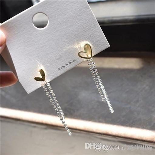 DHL New Gold menina Forma geométrica de cristal Beads Brincos Feminino Amor Beads longa cadeia de borla brincos Brinco Voltar