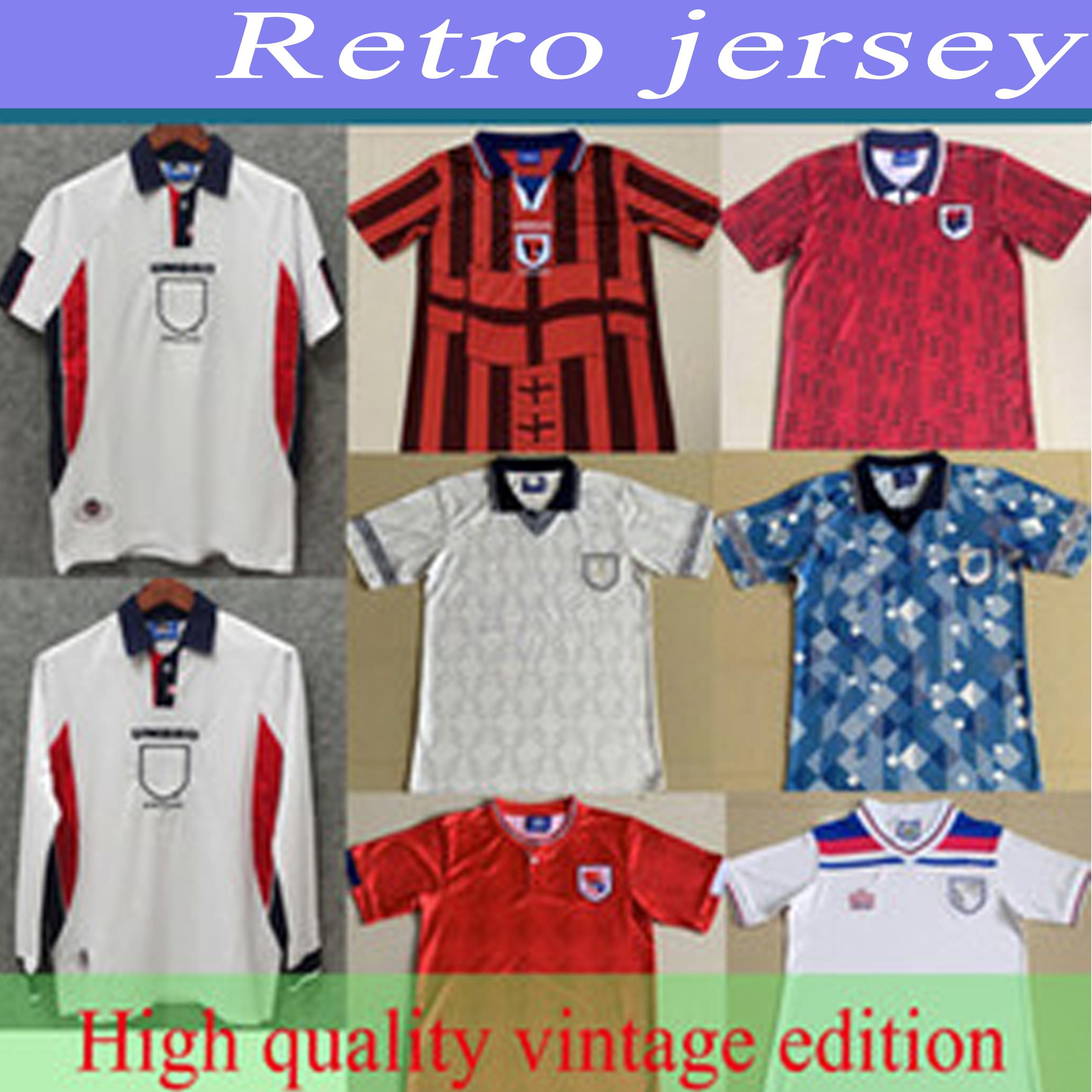 1990 1998 Retro England-Fußball-Jersey-weißes Fußball-Hemd SHEARER SHERINGHAM BECKHAM Männer Kits OWEN SCHOLES Old Jersey