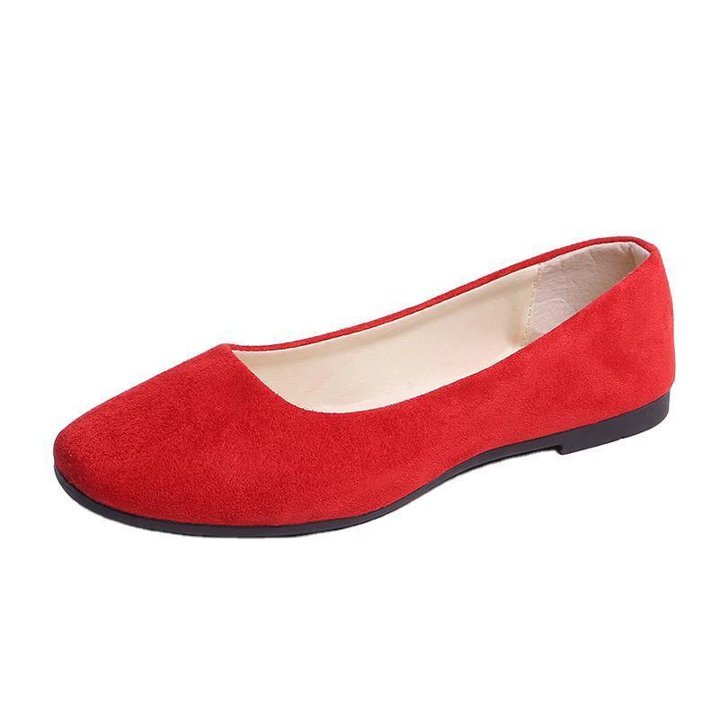 GQPJFI 2020 primavera y otoño Square Zapatos planos de la manera zapatos de las mujeres de Corea gamuza Todo-fósforo Barco de mujeres solteras