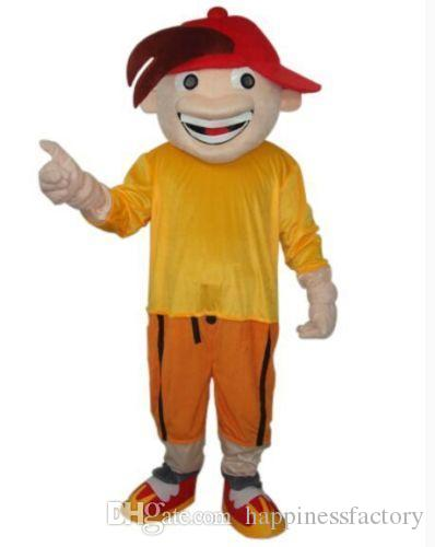 2019 Discount factory sale Boy in red hat cool adult size mascot costume free shipping