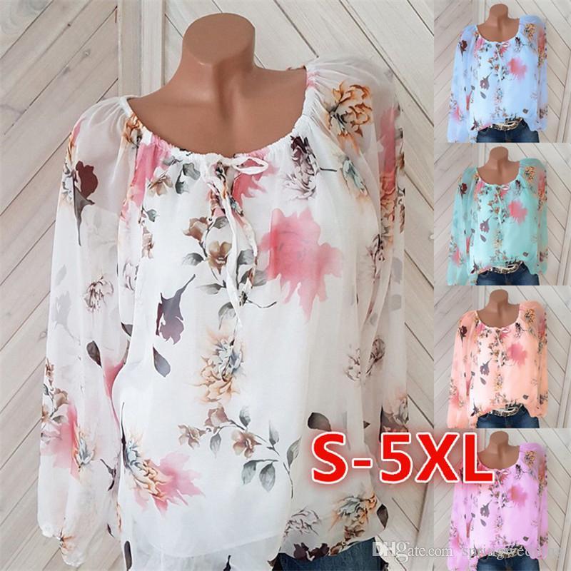 Blusas de mujer 5XL 2019 primavera y verano nuevas explosiones cuello de palabra sexy europeo y americano camisa de gasa impresa 6229