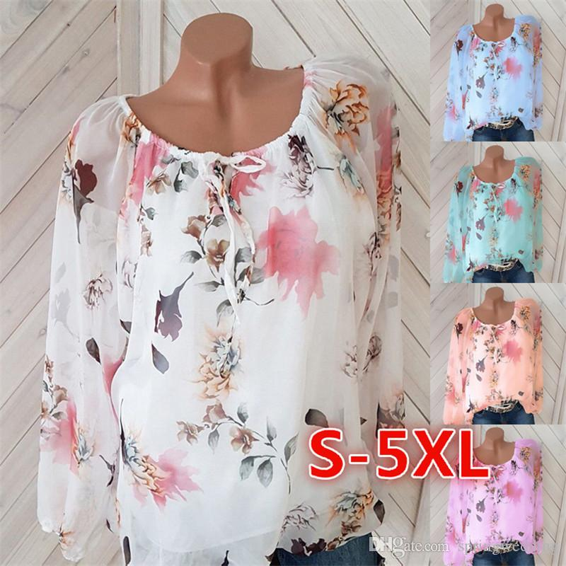 5XL women's blouses 2019 spring and summer new explosions European and American sexy word collar printed chiffon shirt 6229