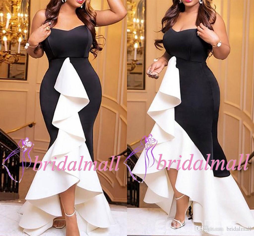 Negro + blanco Sirena alta y baja Sirena africana vestidos de baile 2019 elegantes con volantes en capas vestidos de noche formales de satén Barato Hi Lo vestido de cóctel