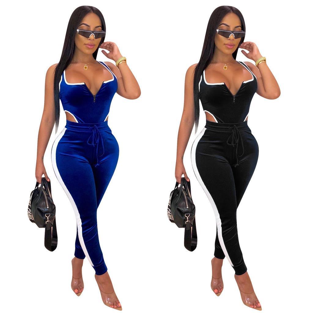 Womens iki parça kıyafetler romper Kadife uzun Pantolon tayt eşofman eşofman giyim artı boyutu BODYCON Sexy kolsuz yelek tulumlarını set