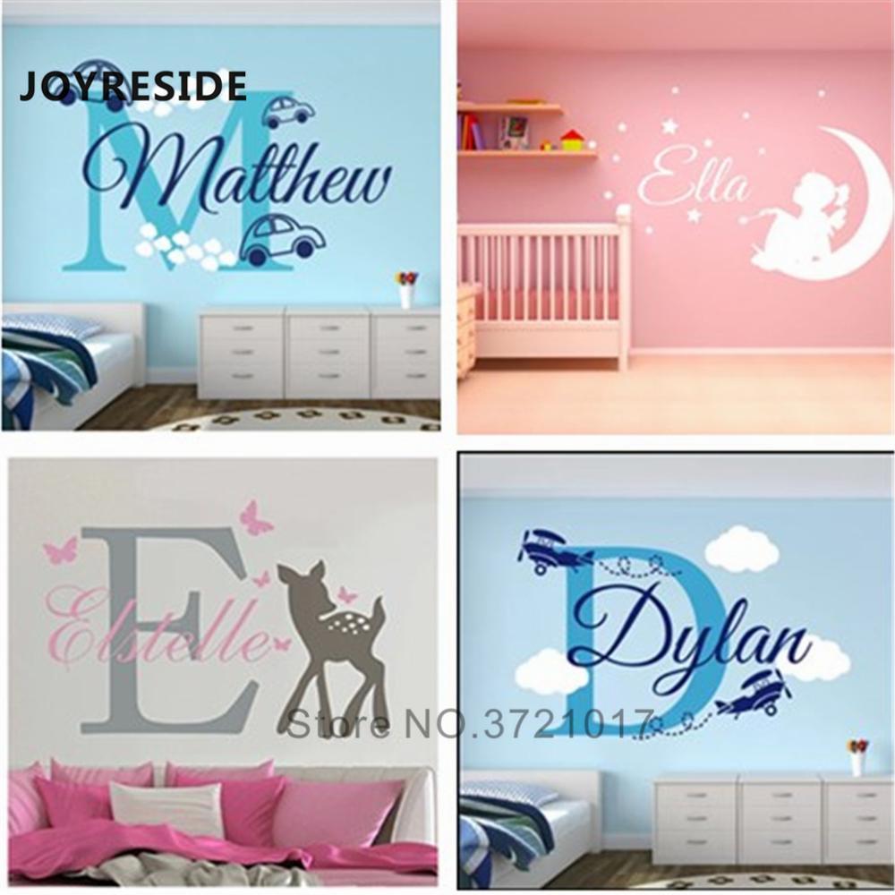 JOYRESIDE Nombres personalizados etiqueta de la pared del dormitorio del hogar conocido de encargo de Wall Decal diferentes diseños Choose aplique más enfermo Vinilo WM001 Y200102