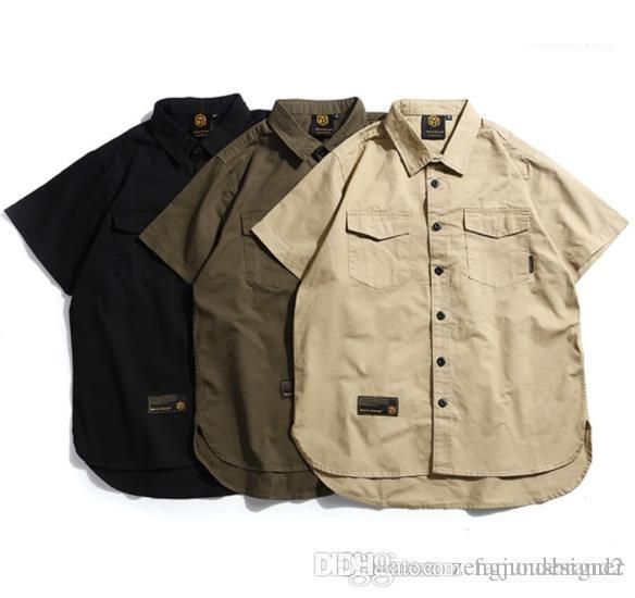 Couleur Tourner Dowen Collier Lettre Camouflage Homme Vêtements décontractés Vêtements Designer Mode Hommes Chemises solides