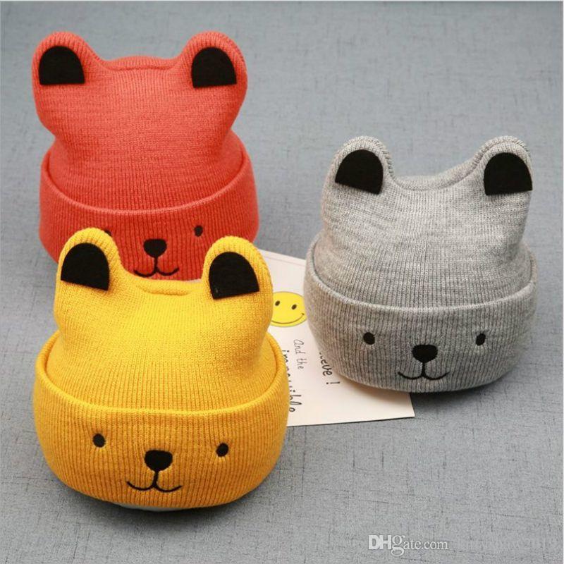 الكرتون الدب قبعة للطفل الشتاء الطفل طفل فتاة بوي الدافئة لطيف قبعة قبعة اكسسوارات جودة عالية