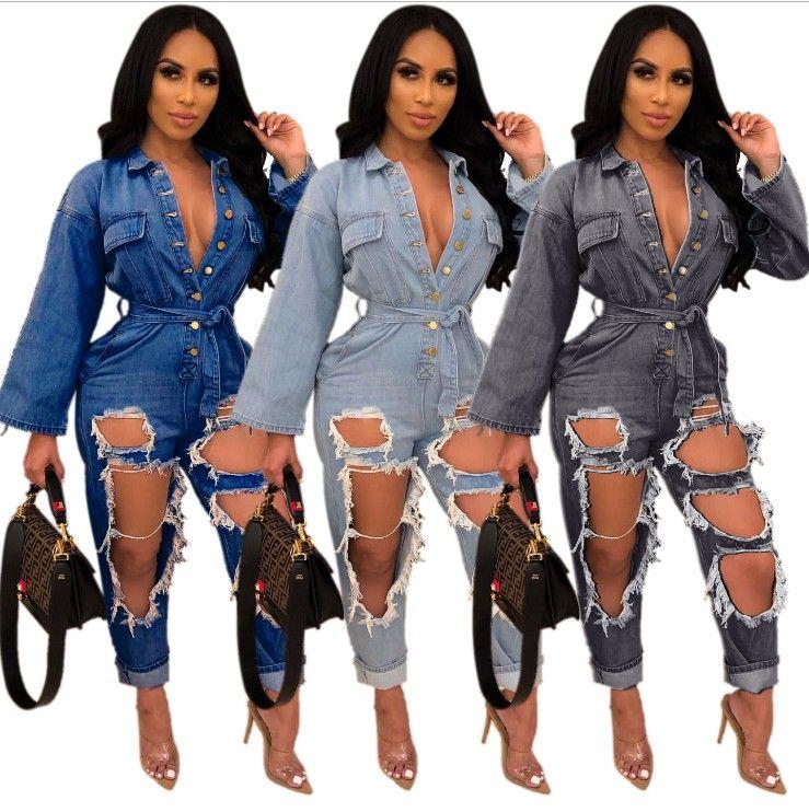 Buracos moda rasgado Mulheres Jeans Macacões Blue Black Sexy mangas compridas Botões Pescoço V Sash Calças retas macacãozinho