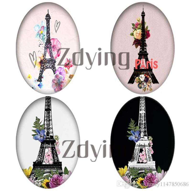 Zdying 18*25mm Colorful Flower Eiffel Tower Oval Shape Glass Cabochon Dome Beads DIY Jewelry Making Findings 10pcs/lot