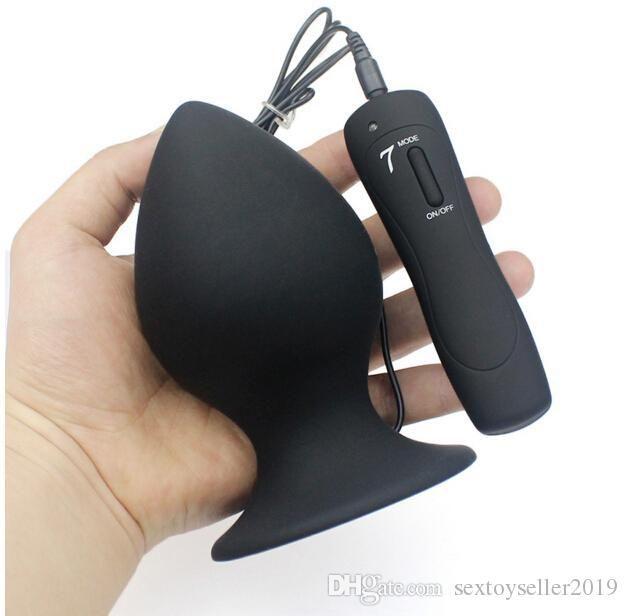 Super große Größe 7-Modus Vibrierende Silikon Butt Plug Large Anal Vibrator Huge Anal Plug Unisex Erotik spielt Geschlechts-Produkte L XL XXL