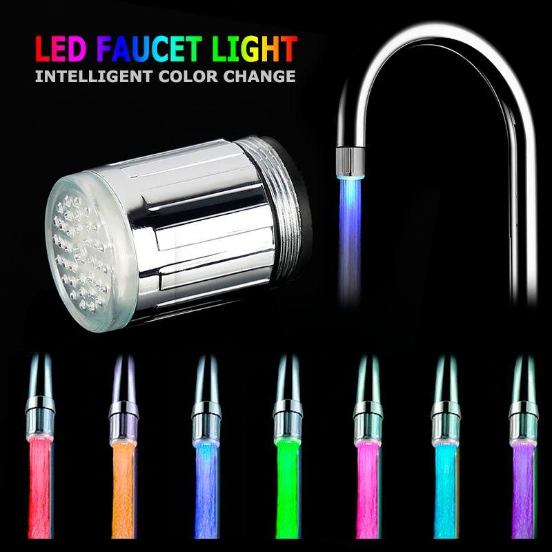 LED صنبور المطبخ مياه الحنفية LED مشرق مضيئة دش صنبور المياه فوهة الحمام رئيس المطبخ الحنفيات الأزرق 3 ألوان 7 ألوان