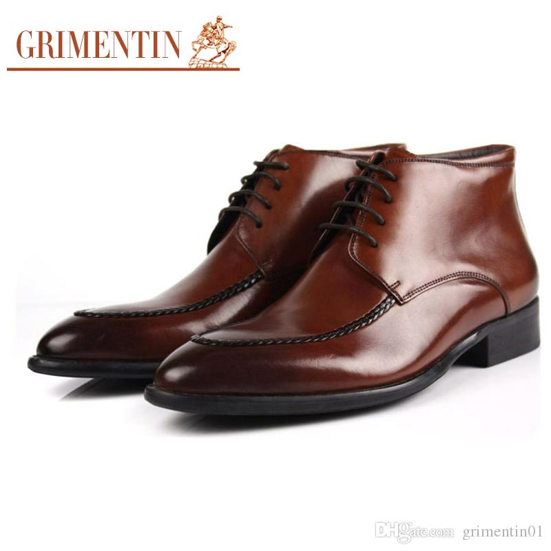 GRIMENTIN Il modo caldo di vendita mens stivali di marca 100% vera pelle con zip nero marrone uomini d'affari formali scarpe da sera 2020 newe stivaletti maschili