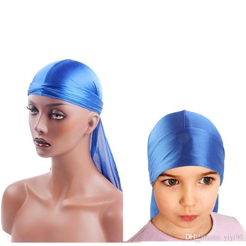 Parent child Extra Long Tail Du-Rag Silky Breathable Bandanas Turban hat Wigs Doo Durags Headwear Headband Hair Accessories