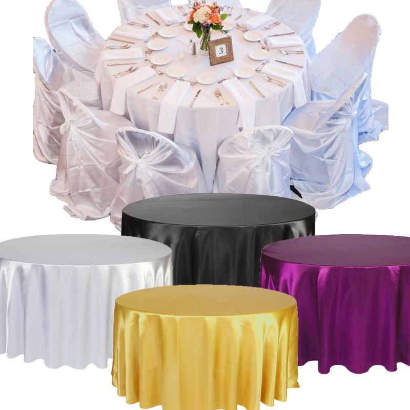 Satin Toalha de Mesa Branco Preto cor sólida para Tampa Tabela festa de aniversário do casamento Round Table Cloth Home Decor