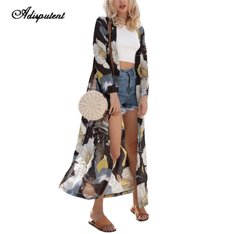 Adisputent Женские шифоновые блузки Летний кимоно Кардиган с длинным рукавом Рубашка с цветочным принтом Ups Blusas Mujer Camisa 2019