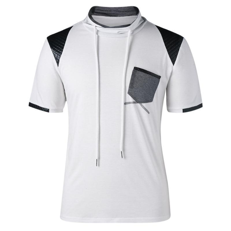 Mit aufgesetzten Taschen Kordelzug-Hals-T-Shirt der Männer Heiße neue Art und Weise übersteigt Tees