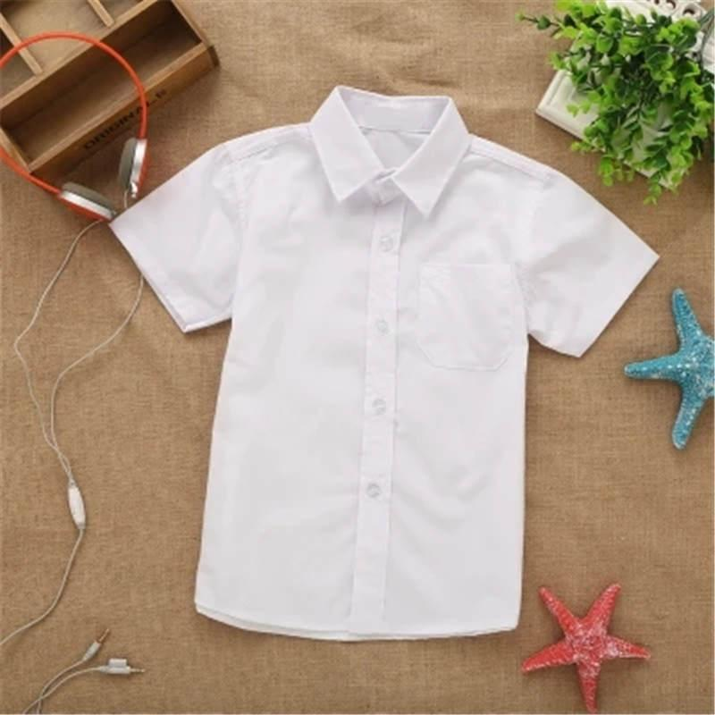 2019 neue Sommerfrühlingsspitzebaumwollnormal Weiß Babykinder Jungen Bluse weiße Hemden mit kurzen Ärmeln für Kinder Jungen Y200704