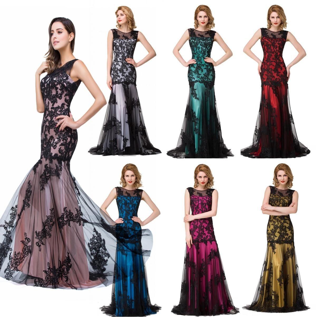 Sexy Räumungs Robe De Soiree Spitze-Nixe-Abschlussball-Kleider Lange Muitl Farben Chiffon Abendkleider Vestido De Festa Longo Cps015