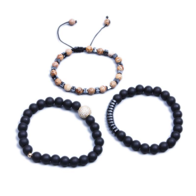 em estoque mais novo de moda masculina pulseira 3pcs Mix / set Popular agora Matte Black hematita contas pulseira