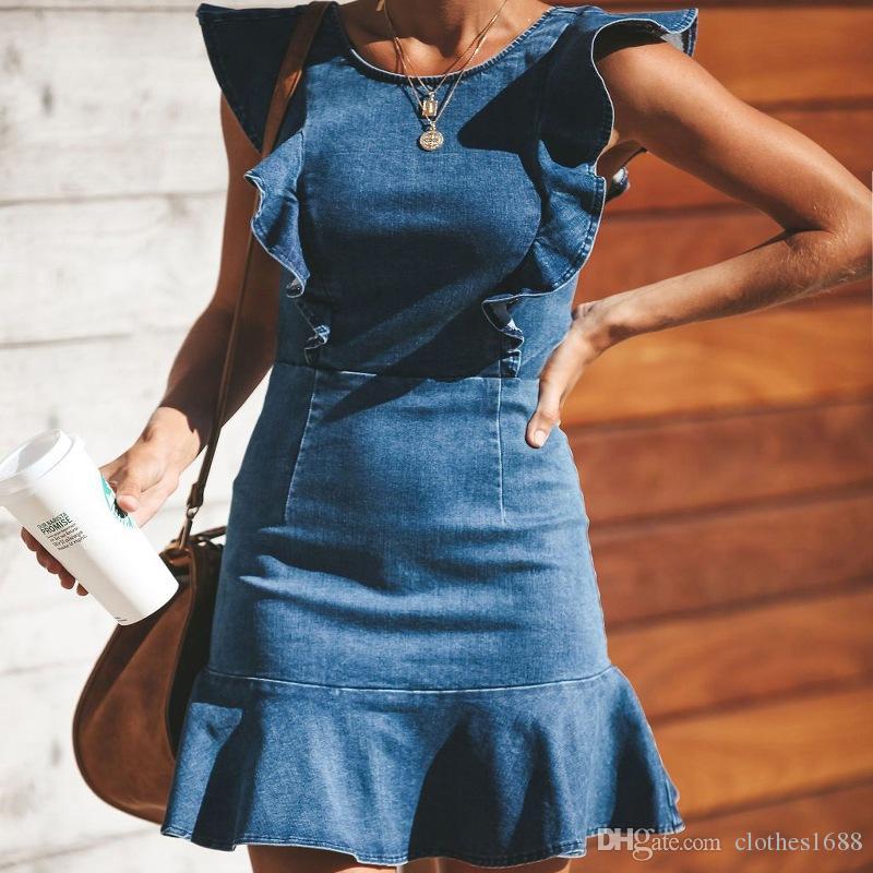 مصمم إمرأة مثير الهيئة غير الرسمية اللباس الدينيم طاقم الرقبة الكشكشة كم القطع الرقبة جينز اللباس الصيف غمد سليم مثير فساتين Vestdos