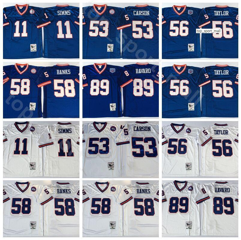 NCAA Futebol 56 Lawrence Taylor 89 Mark Bavaro 11 Phil Simms Jersey 53 Harry Carson 58 Carl Banks Homens Vintage Azul Branco