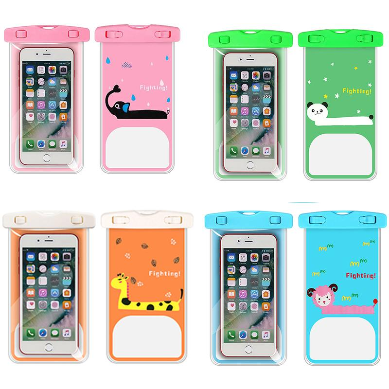 Cartoon Transparent PVC Outdoor Swimming Mobile Phone Waterproof Bag Hanging Neck Water Sports Mobile Phone Protective Cover