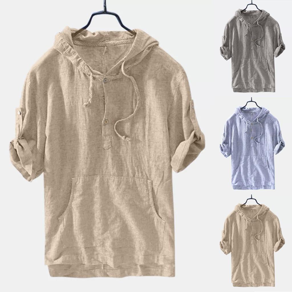 Camicie Baggy allentato tasca a righe con cappuccio a maniche Retro 2019 uomini di estate Top camicia hawaiana camisa Masculina streetwear Y200622