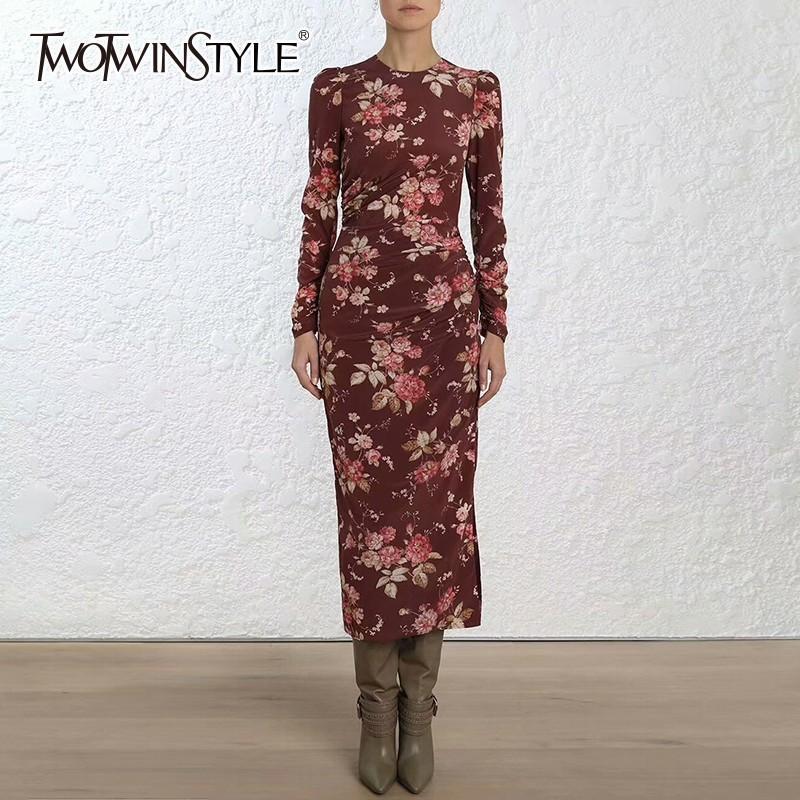 vendita all'ingrosso primavera abiti da donna o collo manica lunga lato Split Midi stampa abito femminile moda vintage moda 2018 nuovo