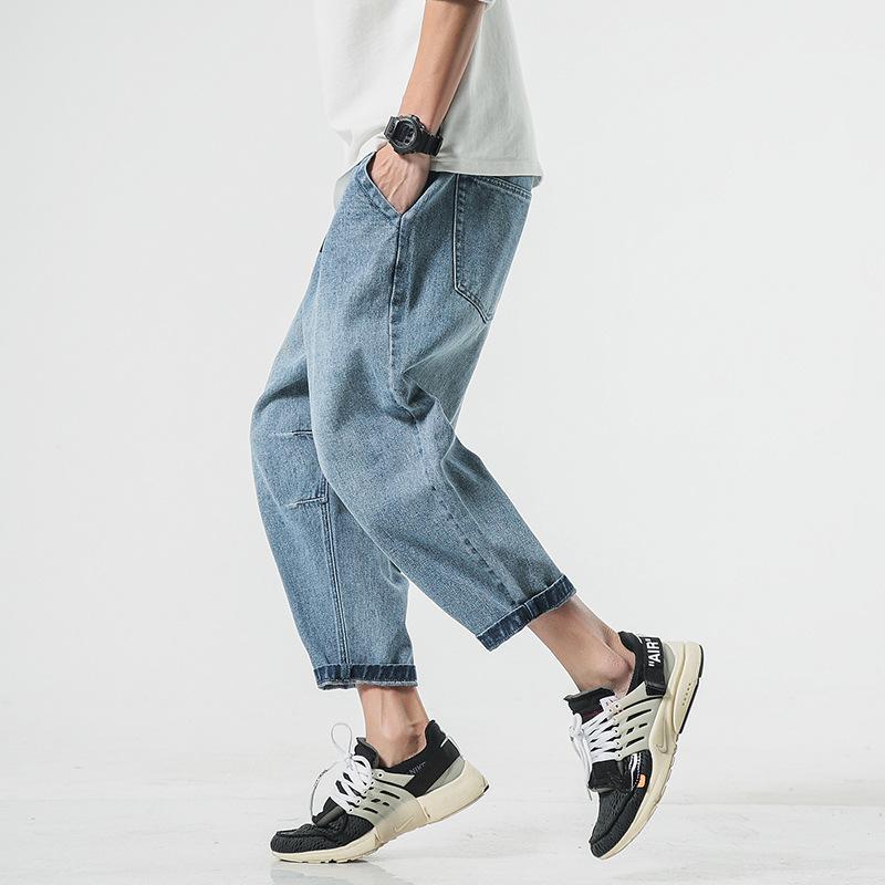 Compre Pantalones Sueltos De Tobillo Para Hombre Pantalones Vaqueros Moda Nuevo Mas Gordo Tamano Grande M 5xl Pantalones De Mezclilla Recortados De Hombre Ocasionales Vaqueros Anchos Hombres A 24 17 Del Blueberry07