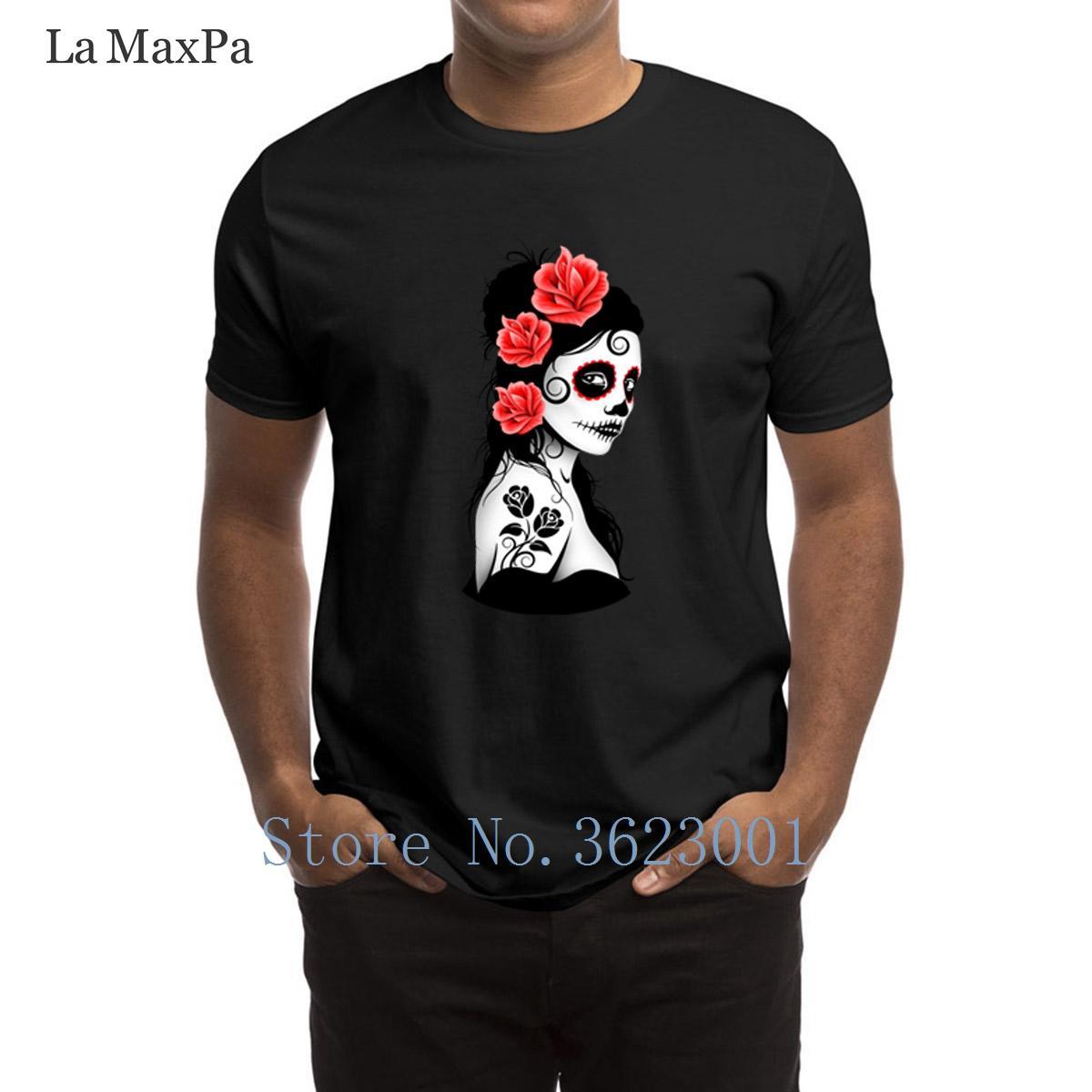 تصاميم الجدة الرجال التي شيرت الأحمر يوم من الميت السكر جمجمة فتاة تي شيرت مضحك التي شيرت الصيف نمط جديد 100٪ قطن قميص تي
