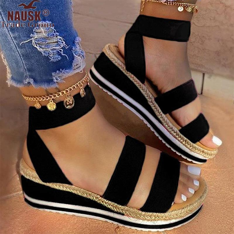 Zapatos sandalias de plataforma de las cuñas de las mujeres del color del caramelo de las señoras de verano de las señoras resbalón ocasional en la correa cruzada muchachas frescas más el tamaño 2020