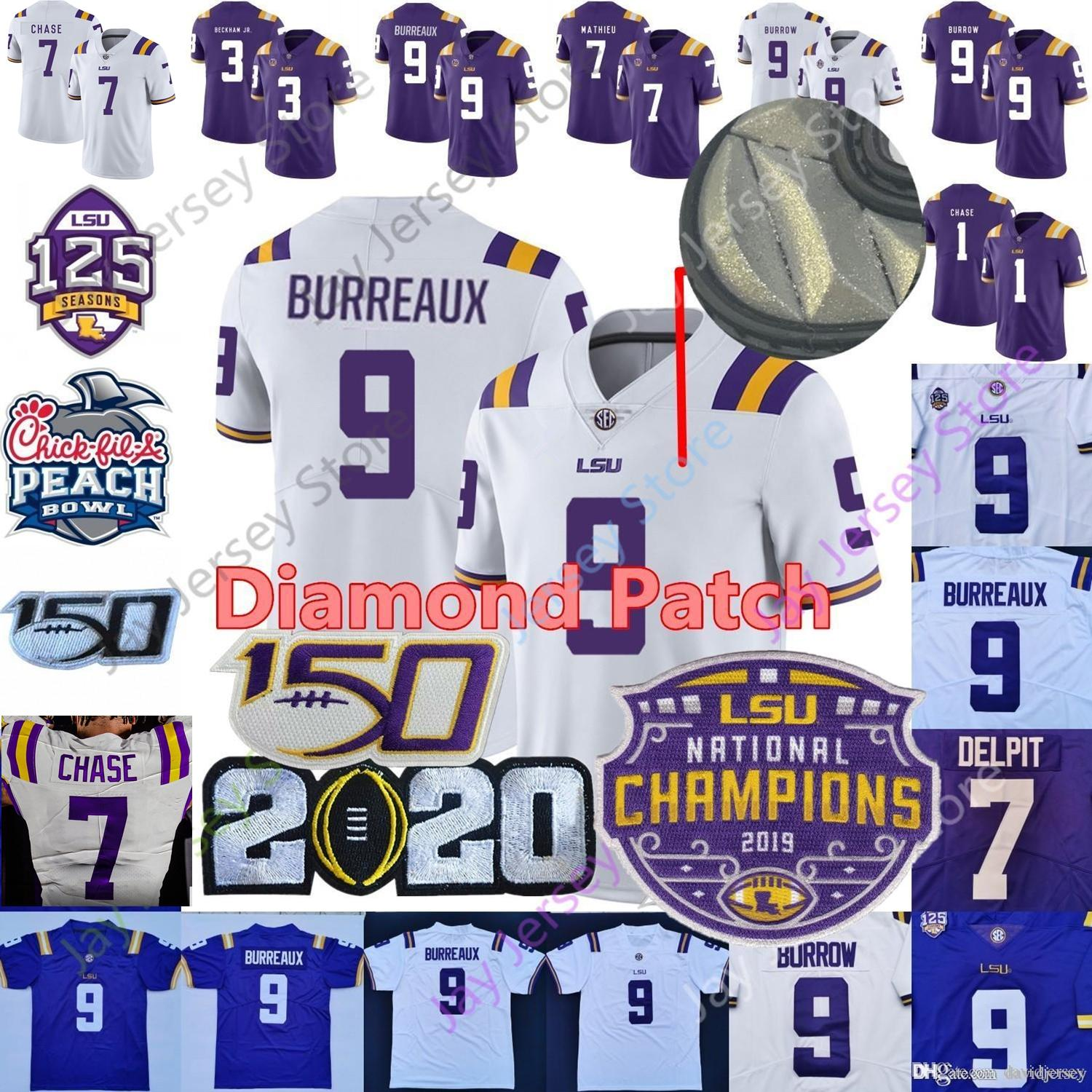 LSU Tigers Burreaux Fußball-Jersey-Diamant-Patch 2020 Champions Playoff College-Joe Burrow 7 Ja'marr Chase Nickname Beckham Delpit Mathieu