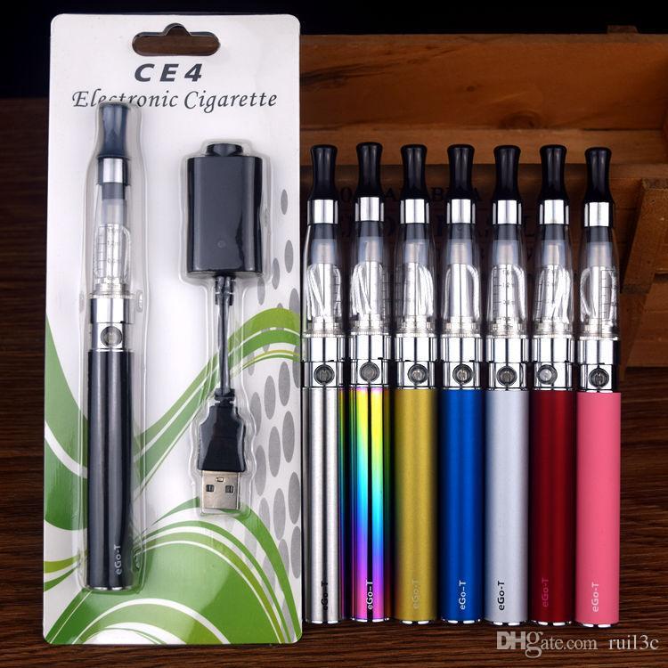 EGO Eletrônico ce4 Vape Caneta Starter Kit CE4 Atomizador Cigarro Eletrônico eGo-T 510 650 900 1100 mAh rosca vapes baterias Blister Kit