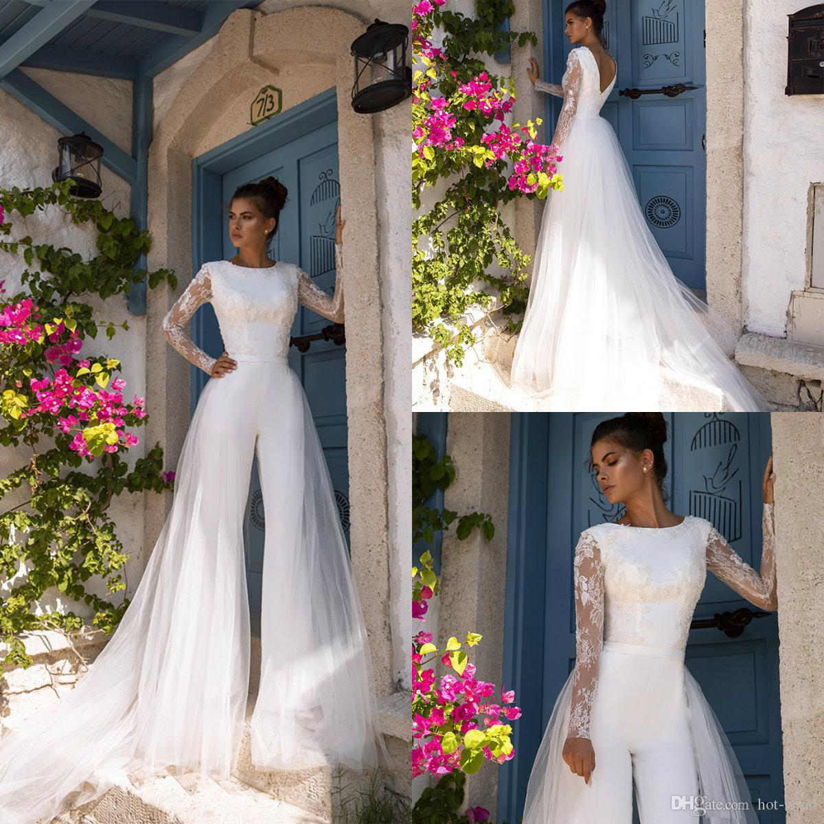 2020 Oksana Mukha mariage avec combis détachable train Jewel Neck Robe de mariée Boho Custom Made manches longues Abiti da sposa