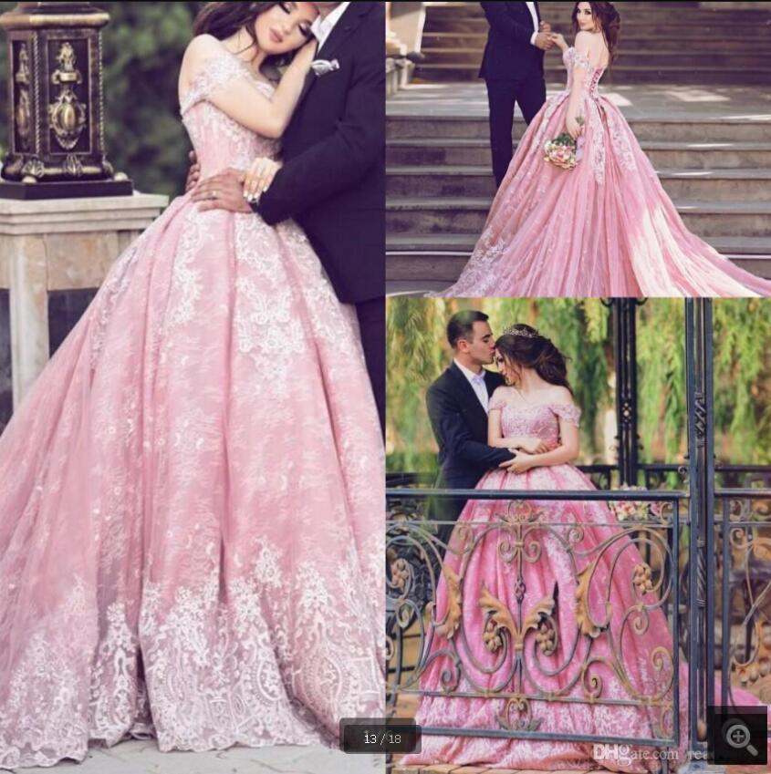 2020 Vestido De Festa pink lace prom dress off the shoulder sexy ball gown prom party dresses beaded appliques princess sweet 16 evening