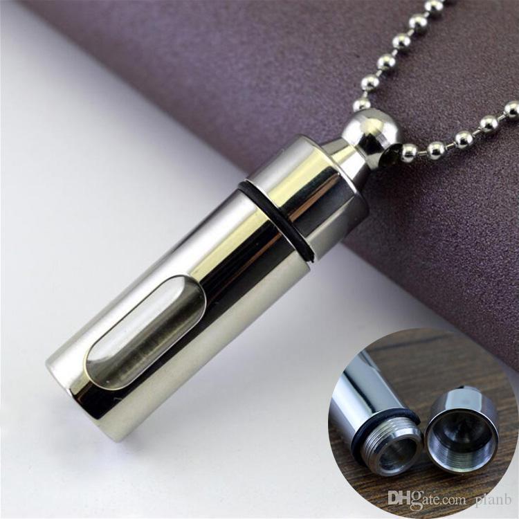 Erkekler Kalça hop için Mens kolye Paslanmaz Çelik Cam Silindir Aromaterapi Uçucu Yağ Parfüm kolye kolye Takı