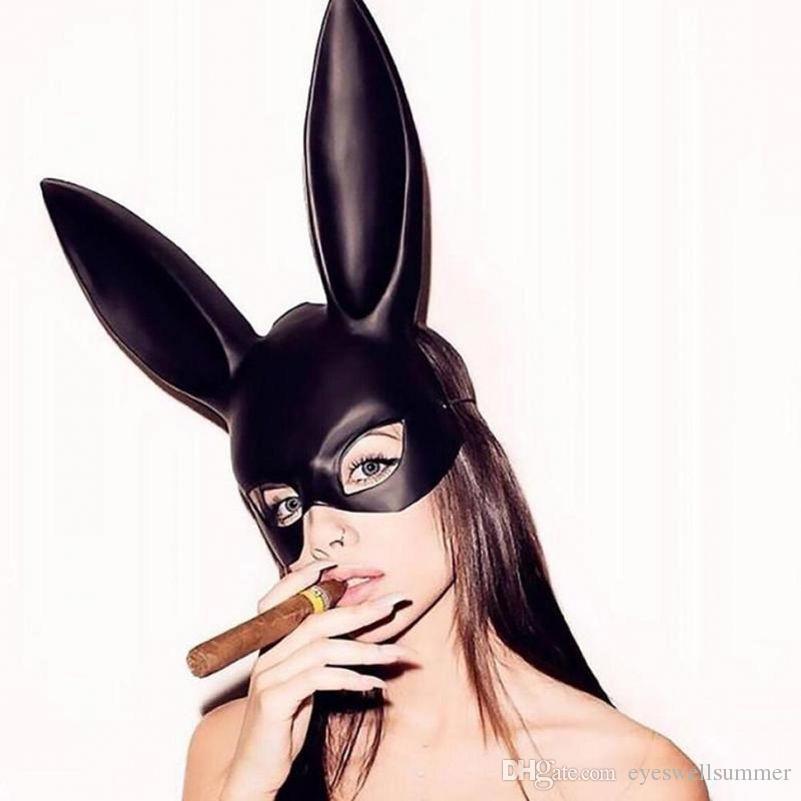 Cosplay Kaninchen Mark Ostern Frauen Mädchen Sexy Kaninchen Ohren Maske Bunny Lange Ohren Bondage Maske Halloween Maskerade Partei Cosplay Maske