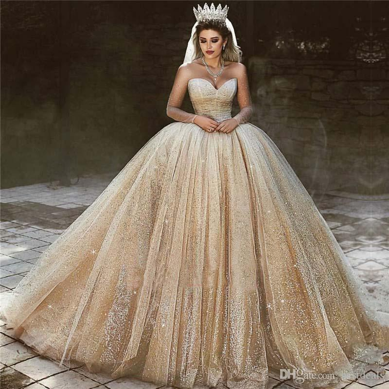 Acheter Luxe Arabe Robes De Mariee En Or 2020 Paillettes Princesse Robe De Bal Robe De Mariee Royale Cherie Perles Brillantes Princesse Robes De