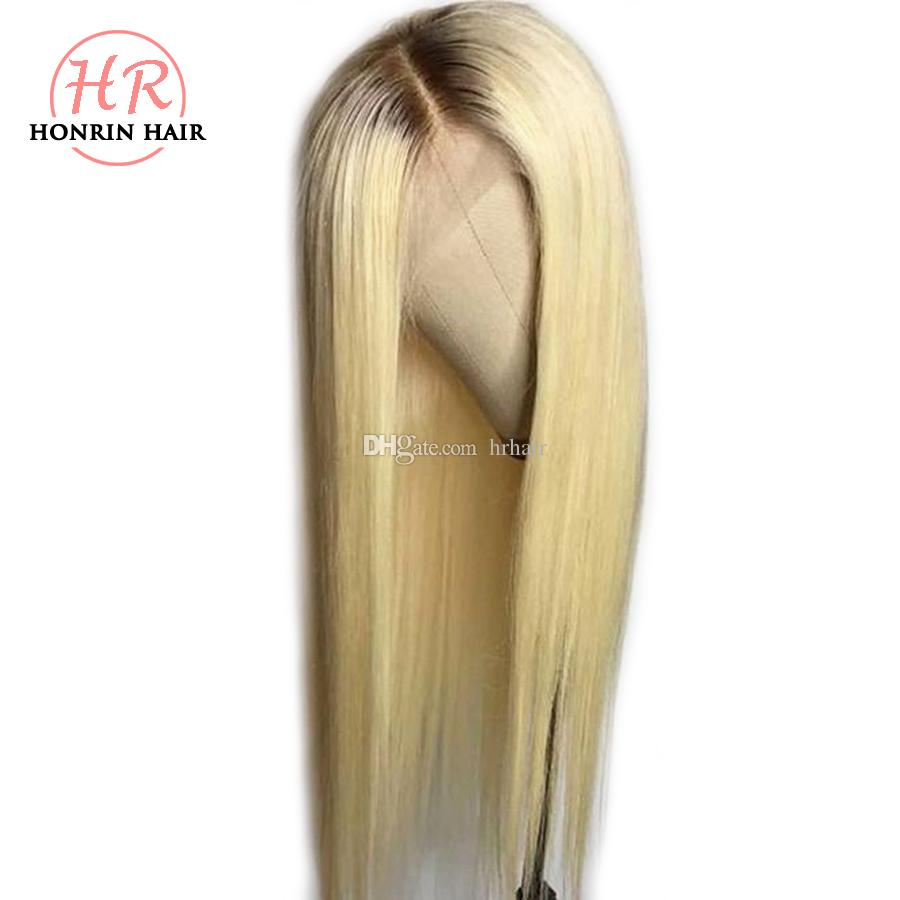 Honrin 머리 금발 선염 T4 / 613 레이스 앞 가발 갈색 머리 뿌리 부드러운 직선 브라질 처녀 인간의 머리 사전 뜯어 낸 전체 레이스 가발