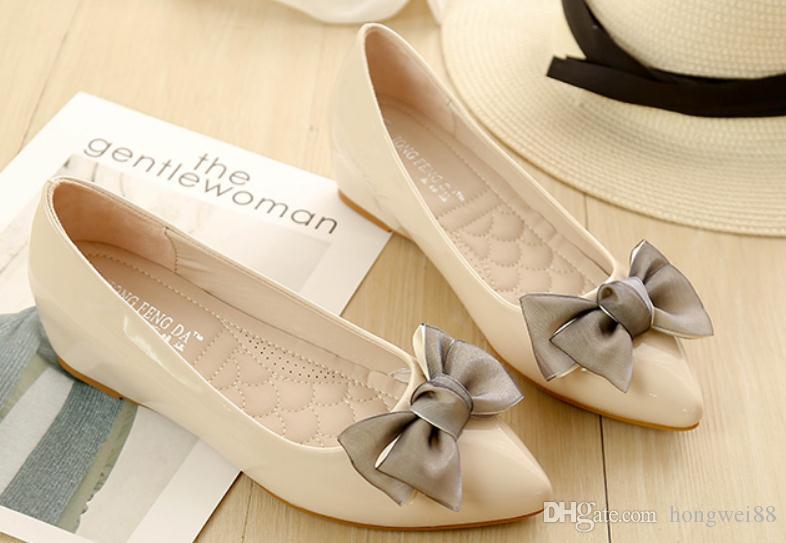 2019 Chaussures pour femmes au printemps et à l'automne avec talon incliné New Style à talon incliné bowknot @ 45