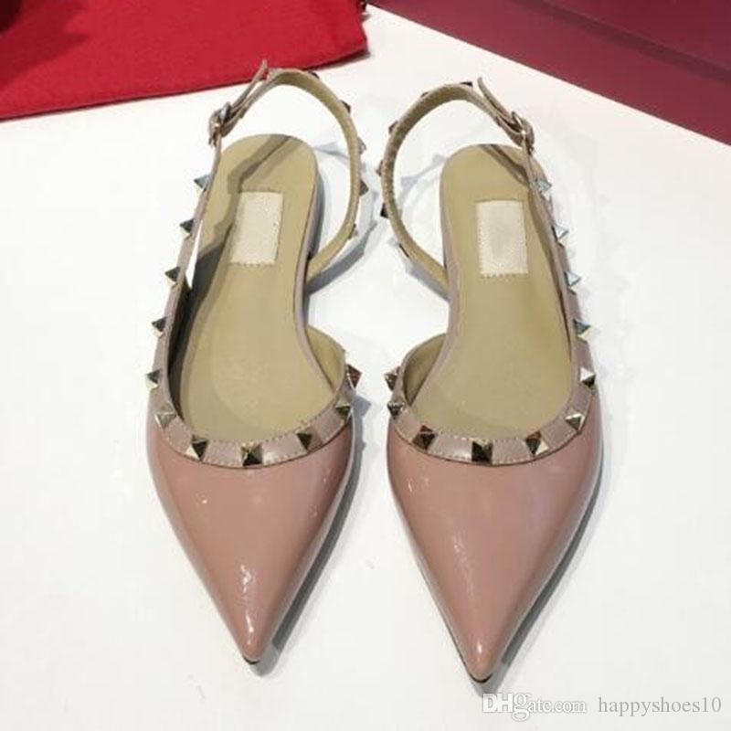 Moda bayan ayakkabı Stud Sandalet Gerçek Deri Slingback Bayanlar Seksi Yüksek Topuklar Moda Perçinler Ayakkabı Parti Yüksek Topuk f7 pompaları