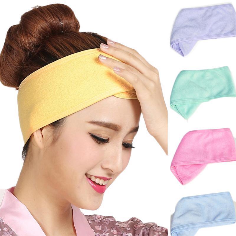 Spa Bath Shower Bandas lavagem da cara elástico de cabelo Cabeça Moda turbante Cosmetic Tecido Ladies Toalha Marca Up Tiara Headbands por Mulheres