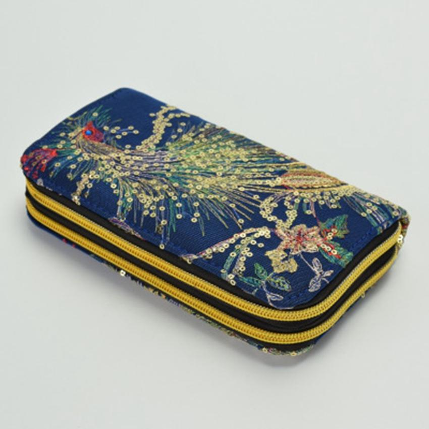 National wind double-sided embroidery high-end features peacock embroidery long zipper hand take change mobile phone bag