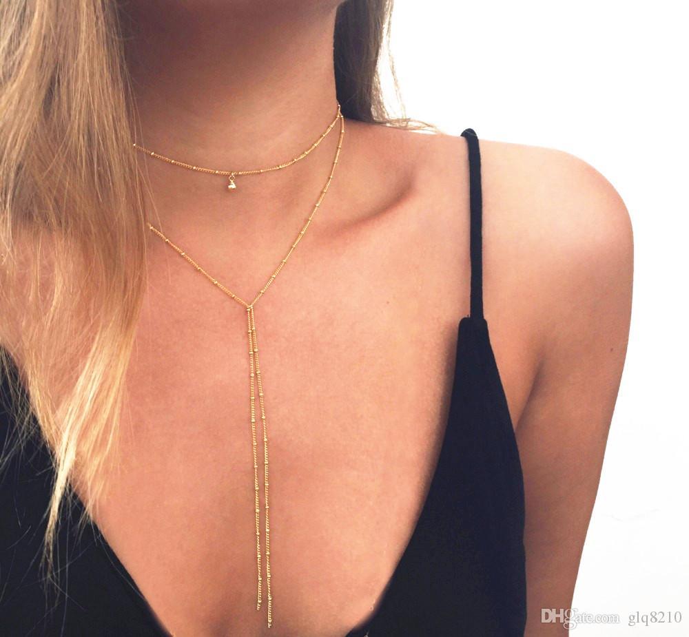 Минималистских ювелирных изделия Многослойной кисточки ожерелье Капли вода ключица цепь ожерелье Ключичной цепь Чокеры высокого качество 12шт